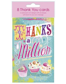 Thank You Notelets 8 a Pack w/ 2 Designs