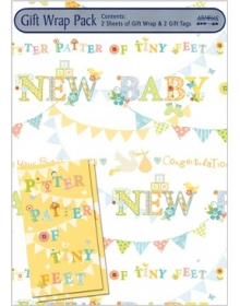 Gift Wrap Pack - New Baby (2 sheets and 2 tags)