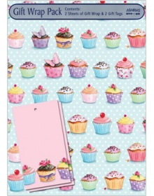 Gift Wrap Pack - Cupcakes (2 sheets and 2 tags)