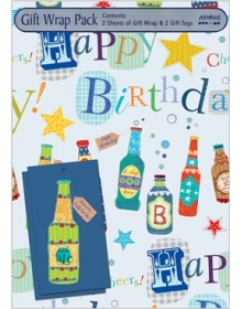 Gift Wrap Pack - Beer Bottles (2 sheets and 2 tags)
